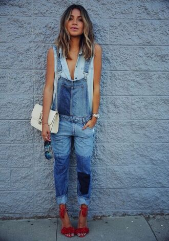jumpsuit sleeveless denim shirt patched denim aquazzura valentino bag denim shirt denim overalls light blue denim overall double denim sincerely jules blogger red heels red stilleto heel fringe heels valentino white shoulder bag chain strap bag shoulder bag