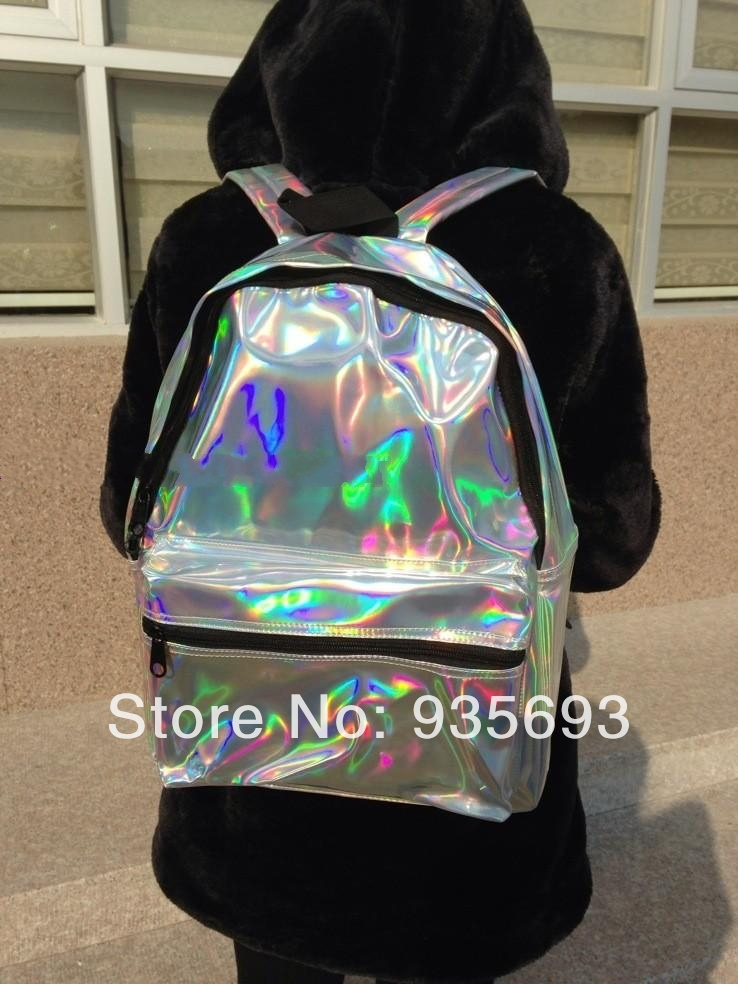 Aliexpress.com : Buy 2014 Silver Laser Reflective Symphony HARAJUKU Hologram Laser Backpack Bag PU Silver Space Backpack from Reliable backpack computer bag suppliers on Online Store 935693