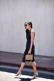 dress,tumblr,work outfits,office outfits,midi dress,blue dress,sandals,sandal heels,high heel sandals,bag,nude bag,sunglasses