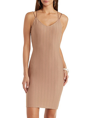 Strappy Caged-Back Bodycon Dress: Charlotte Russe