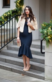 gumboot glam,blogger,dress,shoes,bag,make-up,faux fur jacket,cocktail dress,evening outfits,clutch