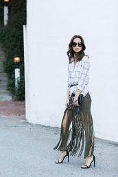 skirt,suede skirt,blogger,fringe skirt,spring outfits,green skirt,white blouse,stripes,mini bag,black bag,sandals