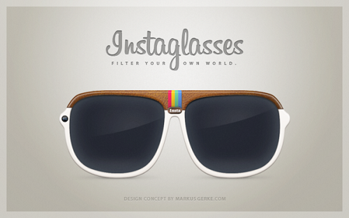 Concept design for 'instagram sunglasses', see the world in filters