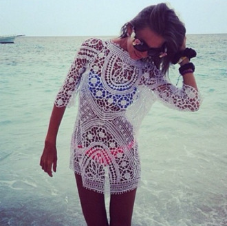dress swimwear cover up lace sunglasses blue pink clothes white lace dress white dress white coverup lace beach swimsuit