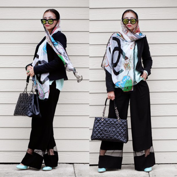 different cands blogger printed scarf mirrored sunglasses chanel bag black pants sweater jacket pants jewels