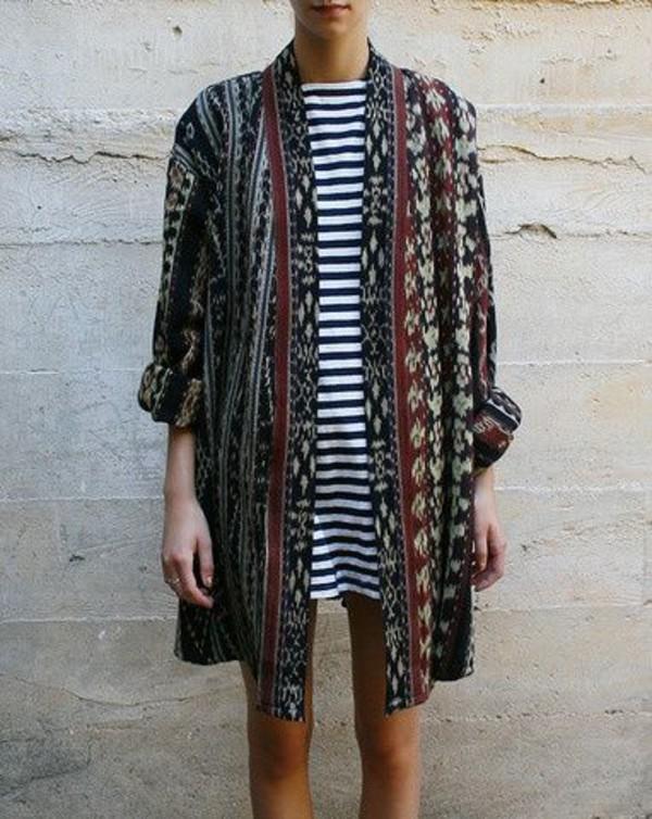 cardigan boho kimono stripes pattern