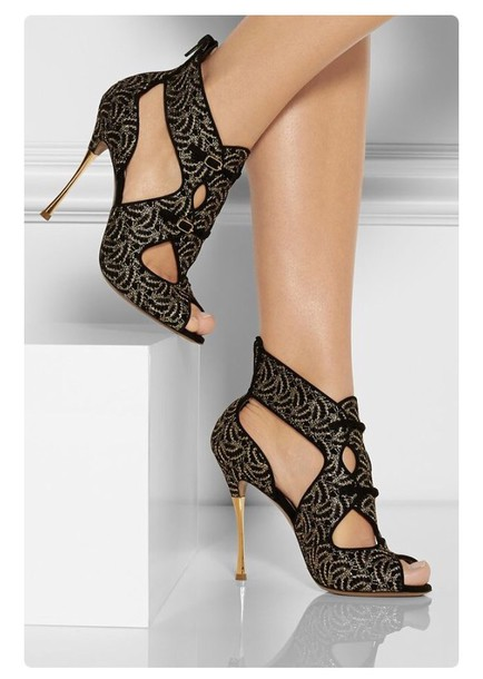 Shoes: black gold strappy heels pattern classy - Wheretoget