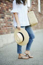 top,hat,tumblr,white top,bag,woven bag,sun hat,denim,jeans,blue jeans,sandals,flat sandals