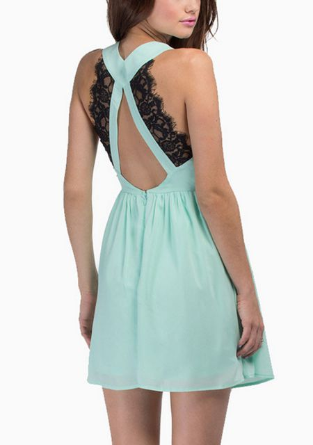 Women's cross leak back eyelash lace shoulder girdle splice sleeveless chiffon dresses online