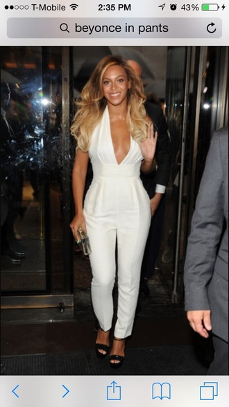 jumpsuit white white jumpsuit beyonce red lime sunday celebrities in white