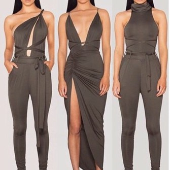 dress kylie jenner style dress coal/khark  coloured dress the dress in ! the middle