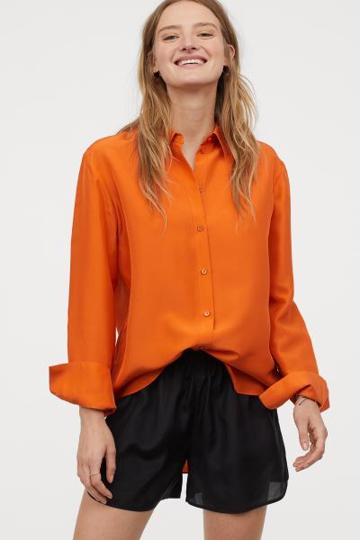 Silk shirt - Orange - Ladies | H&M GB