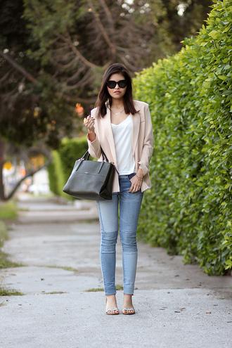 fake leather jacket jeans bag shoes sunglasses jewels