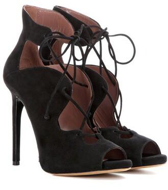 boots ankle boots lace suede black shoes