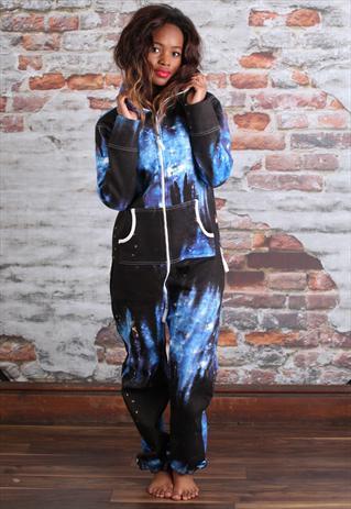 Athena Blue Galaxy Print Onesie | missbehaver | ASOS Marketplace