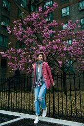 zanita,blogger,coat,jeans,scarf,shoes,t-shirt