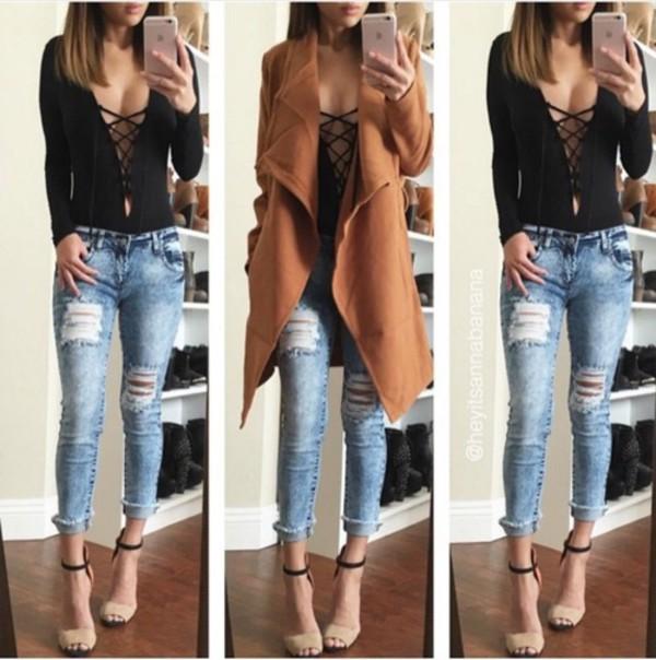 Top mode fashion chic femme jolie beautiful cute canon girl girly jeans haut black - Haut sexy femme ...