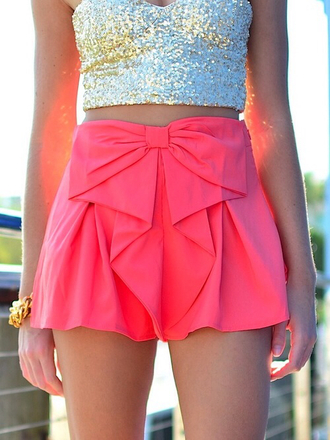 skirt short bow pink clothes cute neon top glitter glitter top shirt