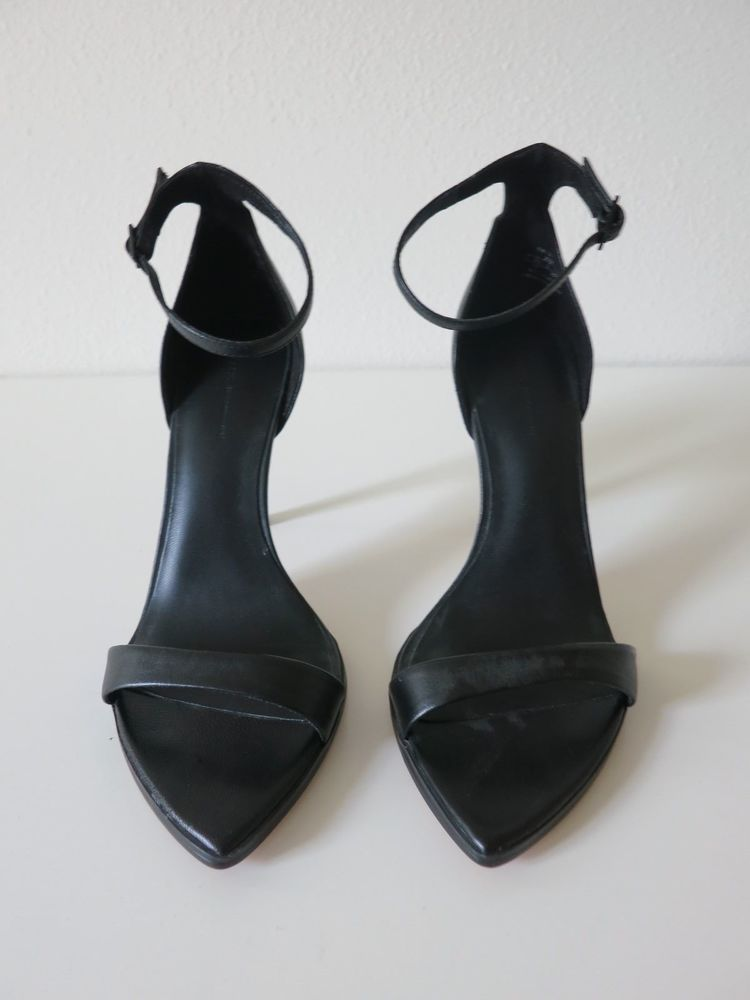 facd37405a8 NEW Zara black leather ankle strap heeled sandals size 8