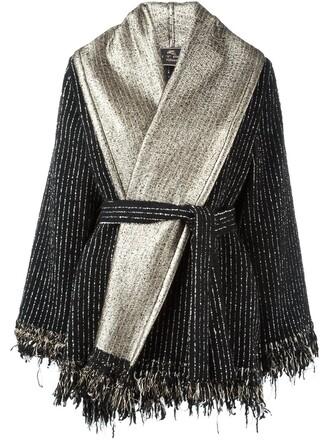 poncho metallic black top