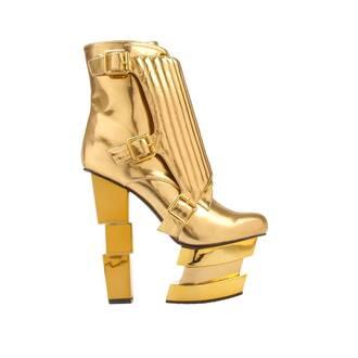 shoes gold platforms