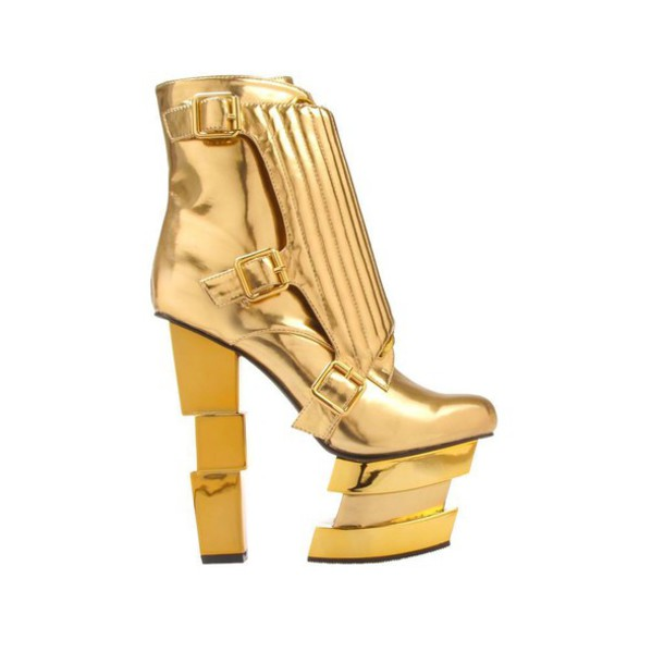 shoes gold platform shoes
