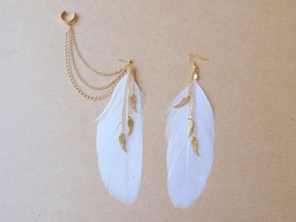 jewels gold bronze ear cuff feathers jewelry earrings wings