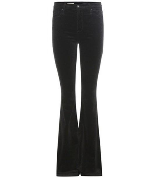 AG Jeans Janis Flared Velvet Trousers in black