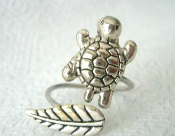 Silver Turtle Ring With A Leaf, Wra..