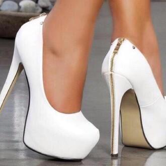 shoes stilettos white shoes zipper heels