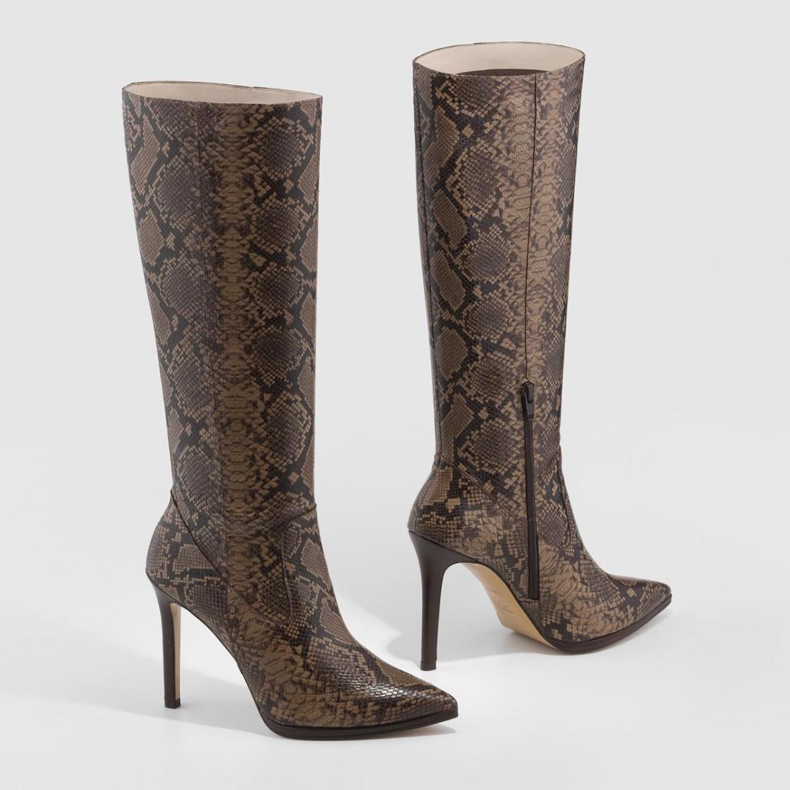 Bota Vasija-SR en piel marrón con estampado de serpiente   LODI Zapatos de mujer online