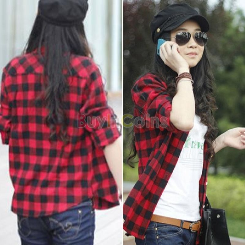 New Women Cotton Plaid Lapel Shirt Flannel Shirts Tops Blouse Red ...