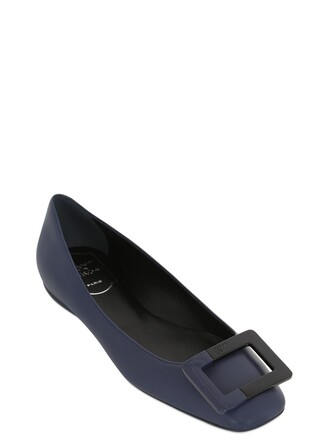 flats leather navy shoes