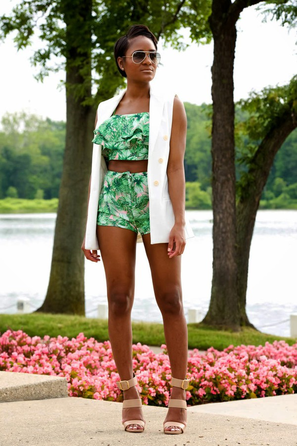 the daileigh top jacket shoes sunglasses palm tree print tropical