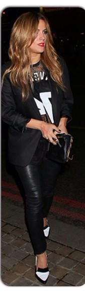 black blazer t-shirt black and white tshirt black pants black and white heels