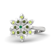 Round Emerald Sterling Silver Ring with Peridot & Green Tourmaline | Dahlia Ring | Gemvara