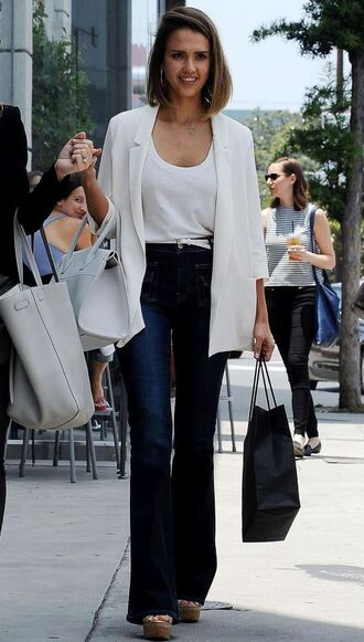 jeans jessica alba blazer wedges flare jeans