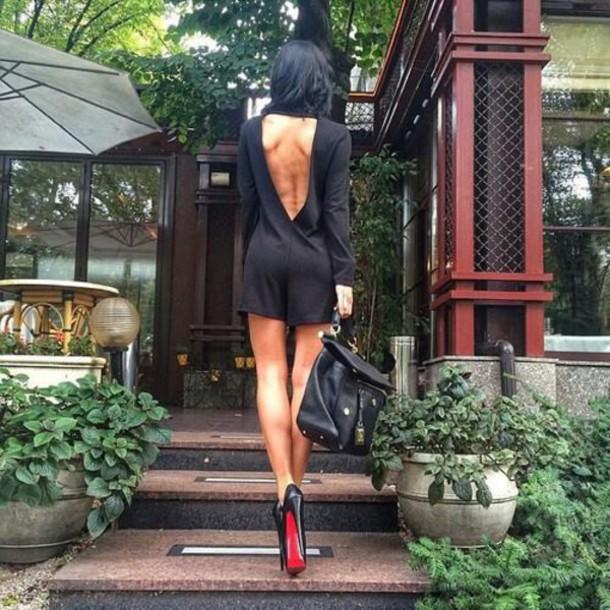 jumpsuit jumper romper naked back shorts jumpsuit dress sexy shoes bag black romper backless