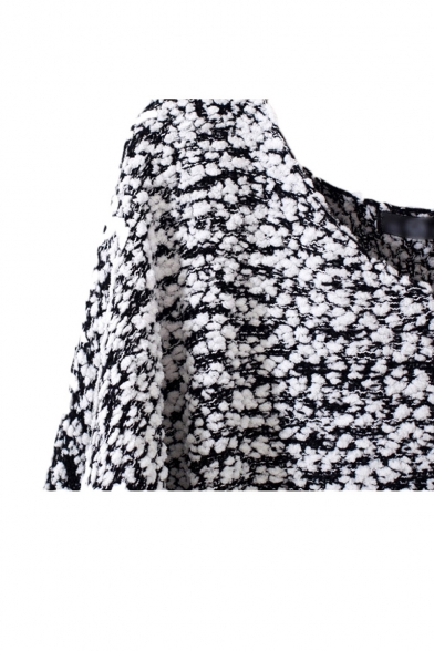 Long sleeve v neck sweater with asymmetric hem