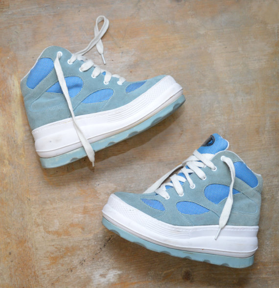 90s blue   white mega platform high top sneakers / shoes / trainers / chunky heel / lace up / deadstock / 1990s grunge