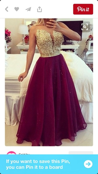 dress burgundy dress gold sequins prom gown
