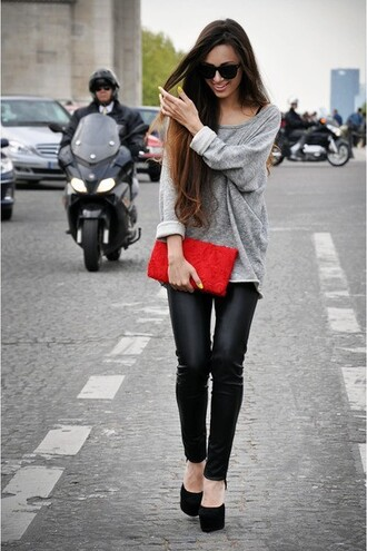 sweater cute pants fashion leather leather pants women's black pants