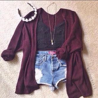 cardigan jacket sweater wool red burgandy burgandy sweater