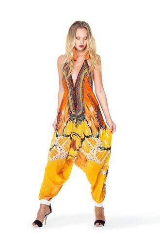 jumpsuit gold orange parides yellow bikiniluxe