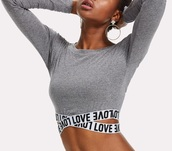 blouse,grey,girly,crop,crop tops,cropped,long sleeves