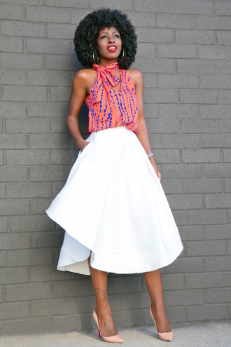 blogger white skirt red top skater skirt pink heels nude heels date outfit black girls killin it
