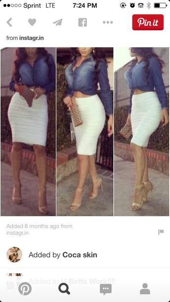 shirt skirt white pencils