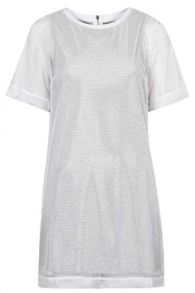 Mesh Overlay T-Shirt Dress - Topshop USA