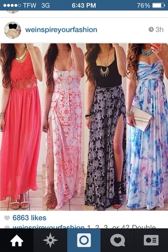 dress maxi dress pelares dresses summer dress jewels shoes summer maxi sun colorful black pink blue flowers strappless dress purple white peach gold wallet tank top skirt bright multicolor maxi skirt slit skirt light pink bag top long dress black dress cute long dress colorful dress cute long dresses