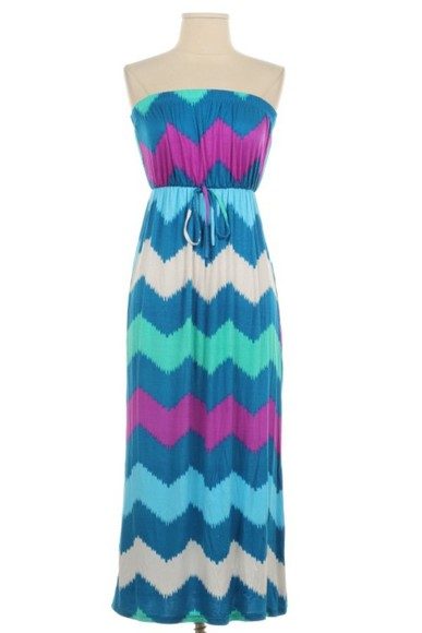 dress maxi chevron strapless dress